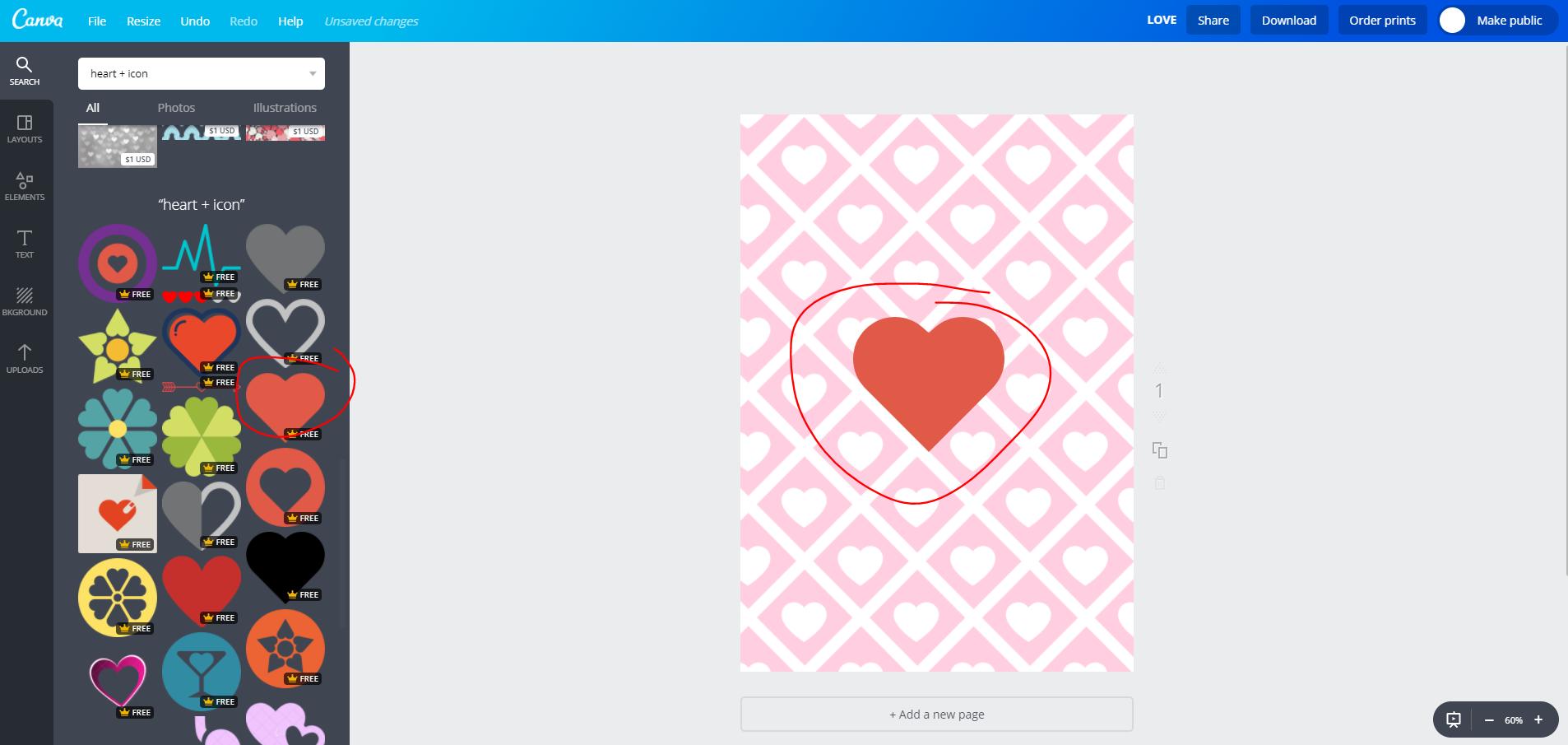 canva image heart icon