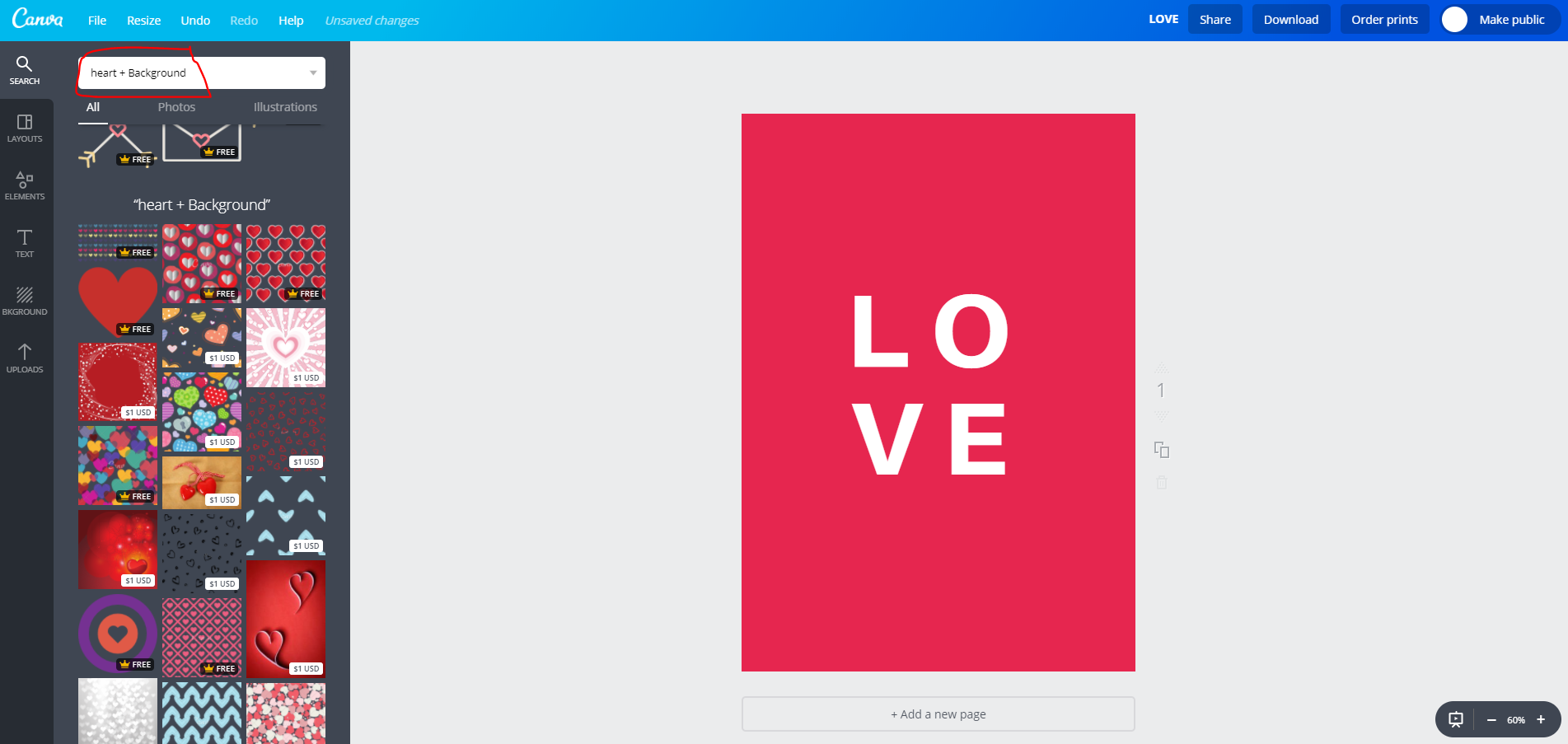 canva image search using plus sign