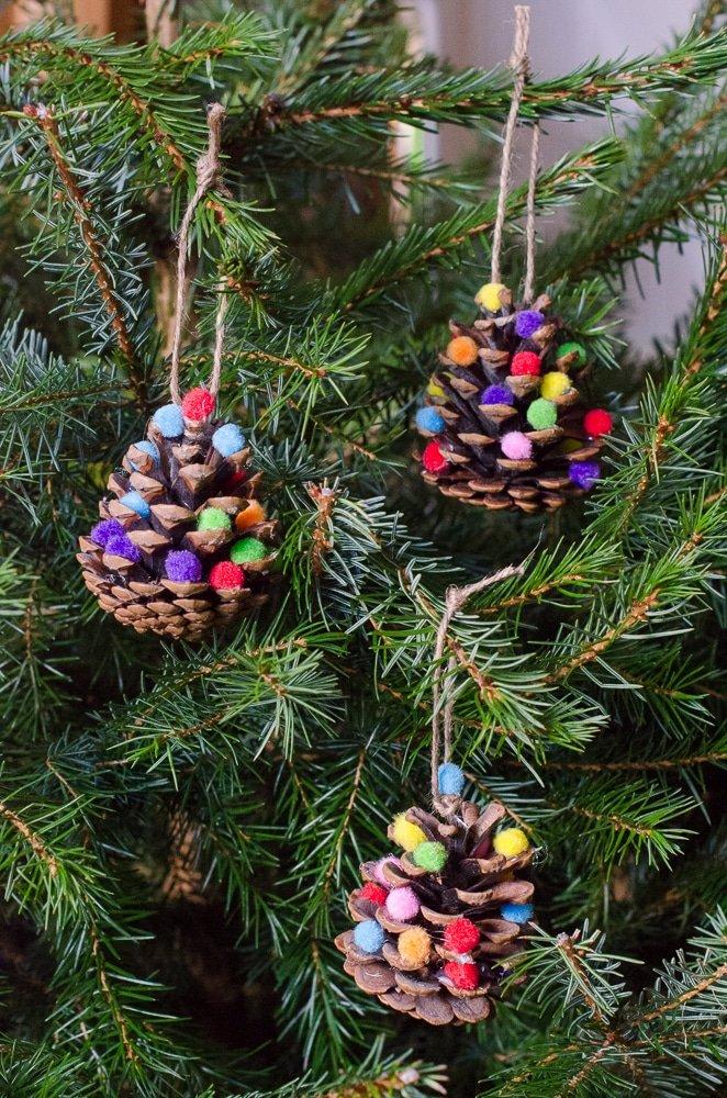 pom pom pine cones - Christmas activity to make with kids